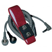 Transforming Technologies WB2580 Wrist Strap Dual Conductor Set Adjustable Dual 4mm Maroon Fabric W/12' Coil Cord