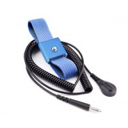 Transforming Technologies WB8000 Series Single Wire Adjustable Premium Blue Fabric Wrist Strap With 12' Coil Cord 4mm Snap (VSP