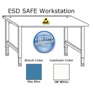 "QS-1006015-D Workmaster™ Quick Ship Adjustable Height ESD Bench 36x96"", Sky Blue (VSP)"