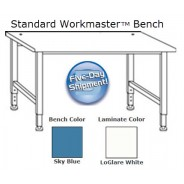 "QS-1000013-D IAC Industries Workmaster™ Series Quick Ship Standard Bench, Sky Blue, Adjustable Height, 36""D x 72""L"