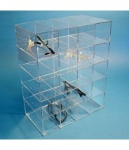"""S-Curve Cleanroom Safety Glass Dispenser 15""""Wx12""""Hx7""""Dx1/8""""Thick Clear High Impact PETG Material For 20 Pairs"""