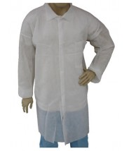 Epic Cleanroom Disposable Light Weight Lab Coat Polypropylene, Snap Front, Open Wrist, Breast Pocket Color: White Size: 3X-Large 50/Case