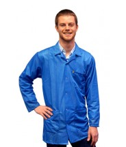 JKC9024SPLB Transforming Technologies JKC 9024SPLB ESD - Traditional Collared Lab Jacket, ESD Snap Cuff, Color: Light Blue, Size: Large