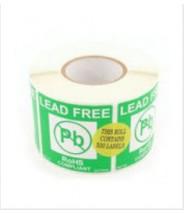 "Botron 2""x2"" Lead-Free Warning Label Green/White 500/Roll"