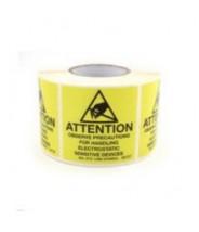 "B6725 Botron 5/8""x2"" Awareness Labels Mil-Std 129 Yellow/Black 500/Roll"