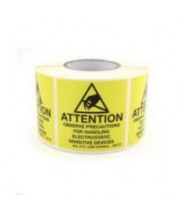 "B6728-5 Botron 4""x4"" Attention Label Mil-Std 129 Yellow/Black 500/Roll"