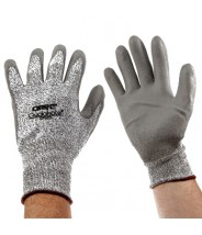 QRP Qualakote® Polyurethane Palm Coated Gray Cut Resistant Glove Size: X-Large Color: White Dyneema® With Black Nylon Knit 12Pair/Pak