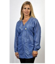"VOJ-23-4X Tech Wear Traditional  ESD-Safe 33""L V-Neck Jacket OFX-100  Color:Hi-Tech Blue Size: 4X-Large"