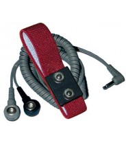 Transforming Technologies WB2585 Wrist Strap Dual Conductor Set Adjustable Dual 4mm Maroon Fabric W/12' Coil Cord