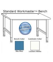 "QS-1000001-D IAC Industries Workmaster™ Series Quick Ship Standard Bench, Sky Blue, Adjustable Height, 30""D x 48""W"