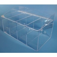 """S-Curve Cleanroom Glove Dispenser 20""""Wx12""""Hx12""""Dx 1/4""""Thick Clear Acrylic 4-Compartment With Separate Flat Lids"""