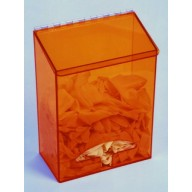 """S-Curve Cleanroom Multi-Use Dispenser 12""""Wx16""""Hx6""""Dx 1/4""""Thick Amber Acrylic 1-Compartment With Front Opening & Sloped Lid"""