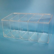 """S-Curve Cleanroom Glove Dispenser 26.5""""Wx12""""Hx12""""Dx 1/4""""Thick Clear Acrylic 5-Compartment With Front Openings & Sloping Lid"""
