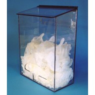 """S-Curve Cleanroom Multi-Use Dispenser 12""""Wx16""""Hx6""""Dx 1/4""""Thick Clear High Impact PETG Material  1-Compartment With Front Opening & Sloped Lid"""