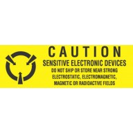"VSP Label 5/8""x2"" Yellow/Black  500/Roll ""Caution Sensitive Devices"""