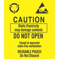 "VSP Label 3-1/2""x3"" Yellow/Black  500/Roll ""Caution-Do Not Open"""