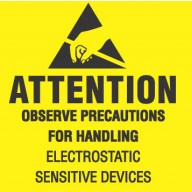 "VSP Label 2""x2"" Removable Yellow/Black  500/Roll ""Attention Observe Precautions"""