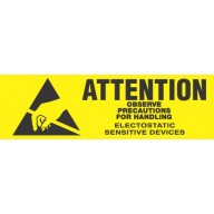"VSP Label 5/8""x2"" Yellow/Black  500/Roll  ""Attention Observe Precautions"""