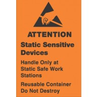 "VSP Label 1-3/4""x2-1/2"" Removable Orange/Black  500/Roll ""Static Sensitive Devices and Reusable Container"""