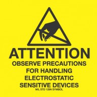 "VSP Label 4""x4"" Removable Yellow/Black  500/Roll ""Attention Observe Precautions"""