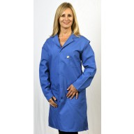 "Tech Wear Nylostat ESD-Safe 42""L Coat Cotton/Poly Woven Color: Nasa Blue Size: 3X-Large"