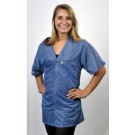 "Tech Wear Traditional ESD-Safe 32""L V-Neck Short Sleeve Jacket OFX-100 Color:Hi-Tech Blue Size: X-Small"