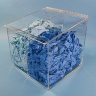 """S-Curve Cleanroom Glove Dispenser 12""""Wx12""""Hx12""""Dx 1/4""""Thick Clear Acrylic 2-Compartment With Sloped Lid"""
