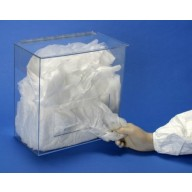 """S-Curve Cleanroom Bouffant Dispenser 12""""Wx12""""Hx8""""Dx 1/8""""Thick Clear Acrylic 1-Compartment With Large Rectangular Front Opening & Hinged Lid"""
