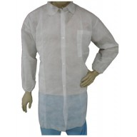 Epic Cleanroom Disposable Lab Coat Polypropylene, Snap Front, Elastic Wrist, Breast Pocket Color: White Size: X-Large 50/Case