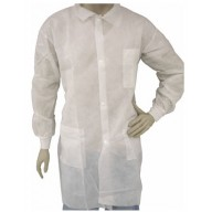 Epic Cleanroom Disposable Heavy Weight Lab Coat Polypropylene, Snap Front, Knit Wrist, Breast Pocket Color: White Size: Large 50/Case