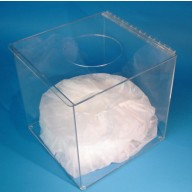 """S-Curve Cleanroom """"Flat Packed"""" Bouffant Dispenser 12""""Wx12""""Hx8""""Dx 1/8""""Thick Clear Acrylic 1-Compartment With Top Opening"""