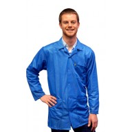 Transforming Technologies ESD Traditional Collared Lab Jacket, Snap wrist, Color: Light Blue, Size: Small