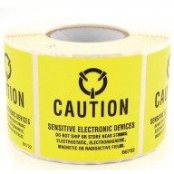 "Botron 2""x2"" Caution Label Old MIL Std Yellow/Black 500/Roll"