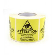 "Botron 4""x4"" Attention Label Mil-Std 129 Yellow/Black 250/Roll"