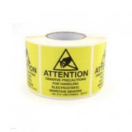 "Botron 2""x2"" Attention Label Mil-Std 129 Yellow/Black 500/Roll"
