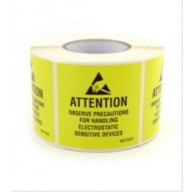"Botron 2""x2"" Attention Label JEDC Reusable Yellow/Black RS-471 500/Roll"