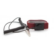 "Botron Wrist Strap Set Burgundy Fabric Adjustable With 1/8"" (4mm) Snap with 12' Coil Cord"