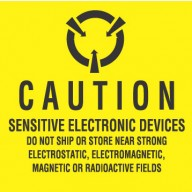 "3M Label 4""x4"" Yellow/Black   ""Caution Sensitive Electronic Devices"" 100/Roll"
