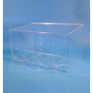 "S-Curve Cleanroom Glove Dispenser 20""Wx12""Hx12""Dx 1/4""Thick Clear Acrylic 4-Compartment With Front Openings & Sloping Lid"