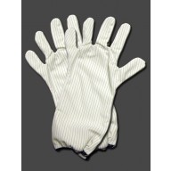 "Transforming Technologies ESD-Safe Cleanroom Polyester Hot Gloves 300Deg F Unisex 14""L With Blue Trim Size: Medium"