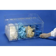 """S-Curve Cleanroom Glove Dispenser 20""""Wx12""""Hx12""""Dx 1/4""""Thick Clear Acrylic 4-Compartment With Front Openings & Separate Flat Lids"""