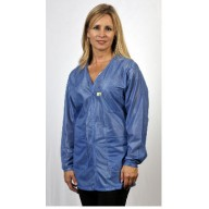"Tech Wear Traditional ESD-Safe 32""L V-Neck Jacket OFX-100 Color:Hi-Tech Blue Size: X-Small"