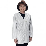 "Tech Wear Traditional ESD-Safe 32""L V-Neck Jacket OFX-100 Color: White Size: Small"