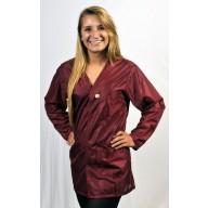 """Tech Wear ESD-Safe V-Neck 32""""L Jacket OFX-100  Color: Burgundy Size: X-Small"""