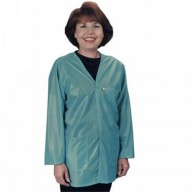 "Tech Wear ESD-Safe V-Neck 32""L Jacket OFX-100 Color: Teal Size: X-Small."