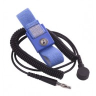 Transforming Technologies Wrist Strap Set Adjustable 4mm Blue Fabric W/12' Coil Cord 1Meg