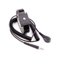 Transforming Technologies Single Wire Adjustable Premium Black Metal Wrist Strap With 12' Coil Cord 4mm Snap