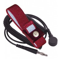 Transforming Technologies Wrist Strap Set Adjustable 4mm Maroon Fabric W/6' Coil Cord