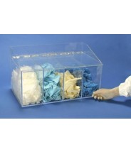 """S-Curve Cleanroom Glove Dispenser 20""""Wx12""""Hx12""""Dx 1/4""""Thick High Impact PETG Material 4-Compartment With Front Openings & Separate Flat Lids"""