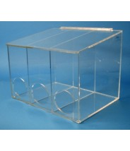 """S-Curve Cleanroom Glove Dispenser 16""""Wx12""""Hx12""""Dx 1/4""""Thick Clear Acrylic 3-Compartment With Sloped  Lid"""